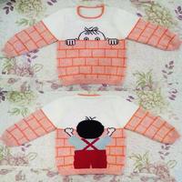 偷瞄的小男孩/翻墙的男孩 充满童趣的婴幼儿棒针圆领毛衣