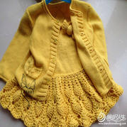 小香风公主2件套 女童钩织结合开衫及背心裙套装