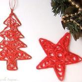 毛线巧做圣诞挂饰 简单漂亮毛线圣诞星圣诞树DIY方法