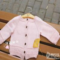 宝宝粉色开衫视频教程(3-1)适合2岁左右女宝宝的萌芽棒针圆领开衫