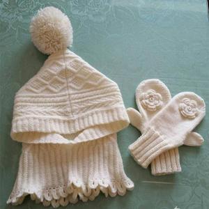 学生防寒保暖三件套 棒针脖套帽子加手套