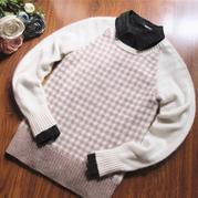素 灰白格棒针北欧风花样插肩袖套头毛衣