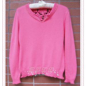 蔷薇红 萌芽嵌水晶钩织结合套头毛衣