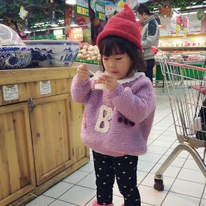 紫小希 女童宽松棒针字母蝙蝠衫