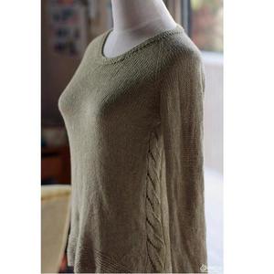 新手可织、从上往下织不需缝合的圆领套头毛衣