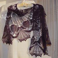 紫藤萝 美丽诺羊毛钩针蕾丝半圆形披肩