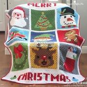 美美哒钩针9花片圣诞毯子图解