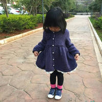 简单大牌女童粗针织棒针羊毛裙式外套毛衣