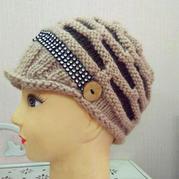 棒针配色女士有檐帽织法说明