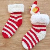 圣诞袜 钩针条纹毛边袜钩法视频教程