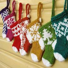 圣诞专题之棒针织迷你圣诞小袜子