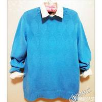 蓝菱花 男士棒针菱纹圆领羊毛衫