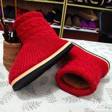 带内胆棒针高筒毛线靴编织教程 毛线棉鞋的最新织法