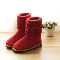 高筒毛线靴鞋底鞋面等的缝合教程 毛线棉鞋最新织法视频教程