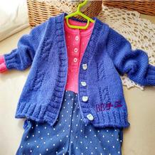 金羊婴幼儿棒针麻花简洁小开衫