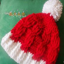 钩针麻花厚实毛球帽 从帽檐往帽顶钩圣诞帽