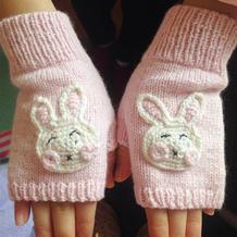 萌萌哒儿童棒针小兔子半指羊绒手套