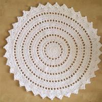 粗针粗线钩编田园风素色圆形桌布 花样款式也可做地毯