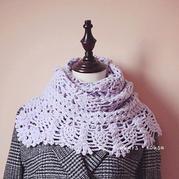 熹微紫 温暖有爱萌芽淡紫色钩针围巾
