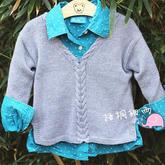 宝宝中性V领文艺罩衫(3-2)云宝宝幼儿中性款棒针V领毛衣