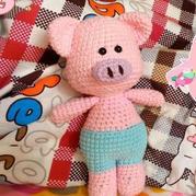 可爱钩针小猪玩偶钩法文字图解