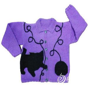 儿童棒针调皮小猫图案毛衣