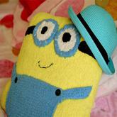 棒针编织毛巾线小黄人抱枕织法视频教程