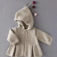 宽下摆宝宝毛衣 法国针织杂志封面款幼儿棒针心型连帽开衫毛衣织法视频