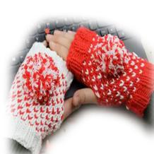 棒针撞色手套(2-1)提花手套无指手套织法视频教程
