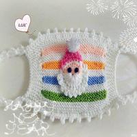 棒针织可爱毛线小口罩之圣诞老爷爷款