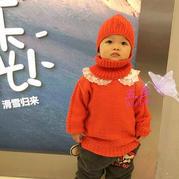 红孩儿  金羊橘红色幼儿棒针圆领毛衣及配套帽子、脖套