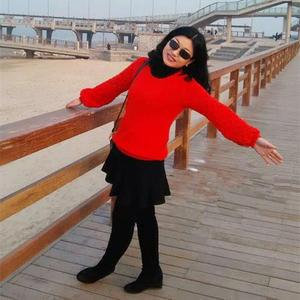 惊鸿 本命年女士大红棒针灯笼袖羊毛衫