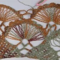 钩针合欢花披肩(3-3)花叉蕾丝风格热款钩针披肩