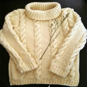 大童毛衣儿童棒针高领麻花毛衣