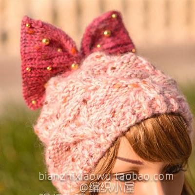 蝴蝶結帽子帽身織法(5-2)釘珠蝴蝶結棒針阿爾巴尼亞針帽子織法視頻教程