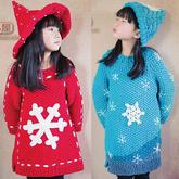 雪花毛衣缝合方法(3-3)女童雪花长款棒针插肩毛衣编织视频