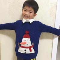 男孩棒针圣诞小雪人图案套头毛衣