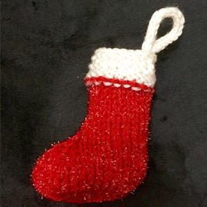 棒针片织圣诞小靴子的织法教程