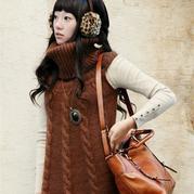 羊驼毛仿韩版棒针高领无袖麻花裙