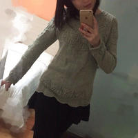 志田款女士棒针育克圆肩套头毛衣