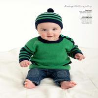 棒针编织儿童条纹配色毛衣