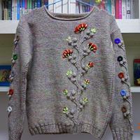 成人与儿童款毛线球刺绣花要配色套头毛衣