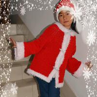 圣诞公主 从上往下钩女童插肩款红白开衫