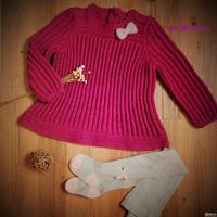 紫藤 金羊棒针中童长袖连衣裙