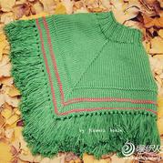 稚绿 金羊儿童棒针有领流苏斗篷