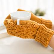 阿伦花样手套(2-1)粗针织亲子款棒针连指手套织法视频教程