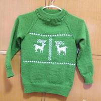 平针绣麋鹿图案棒针男童毛衣