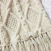 粗针织棒针经典菱形花样流苏围巾