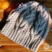 实用与美丽集于一体的粗针织女士羊绒棒针扭花帽