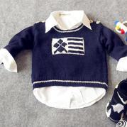 时光机(3-1)0-3岁棒针男童肩开扣套头毛衣视频教程 致富赚钱项目经典羊毛线作品